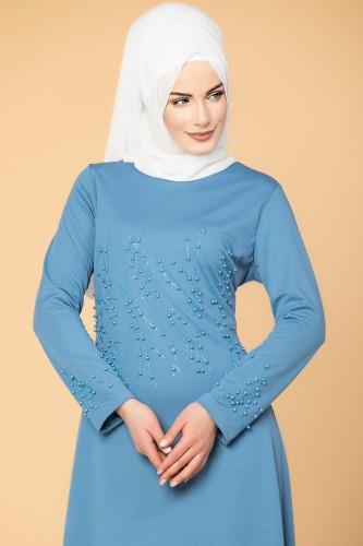 - Ön ve Kol İnci Detaylı Elbise-2063 Bebemavisi (1)