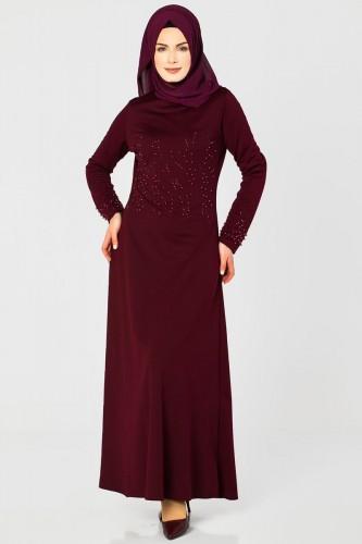 - Ön ve Kol İnci Detaylı Elbise-2063 Bordo