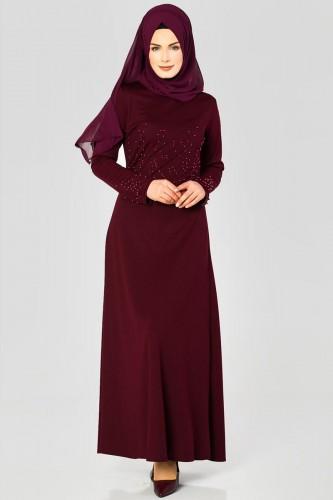 Ön ve Kol İnci Detaylı Elbise-2063 Bordo - Thumbnail