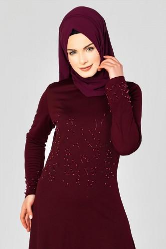 - Ön ve Kol İnci Detaylı Elbise-2063 Bordo (1)