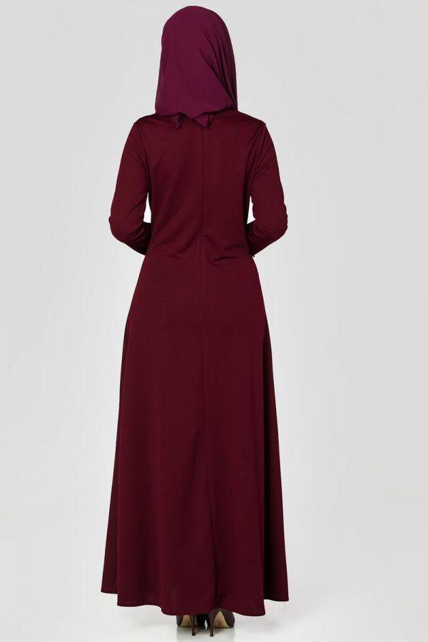 Ön ve Kol İnci Detaylı Elbise-2063 Bordo