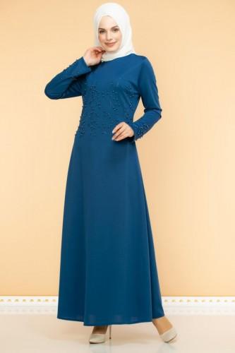 - Ön ve Kol İnci Detaylı Elbise-2063-İndigo