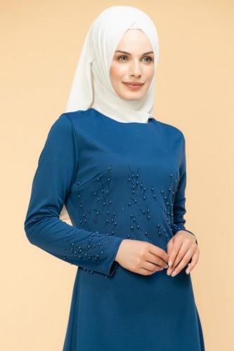 - Ön ve Kol İnci Detaylı Elbise-2063-İndigo (1)