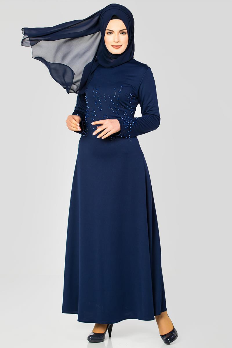 6f90ed25f0637 Ön ve Kol İnci Detaylı Elbise-2063 Lacivert
