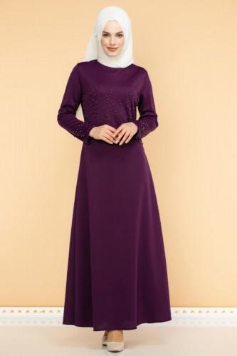 - Ön ve Kol İnci Detaylı Elbise-2063-Mor