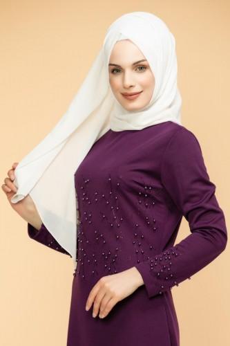 - Ön ve Kol İnci Detaylı Elbise-2063-Mor (1)