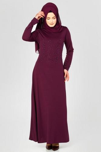 - Ön ve Kol İnci Detaylı Elbise-2063 Mürdüm