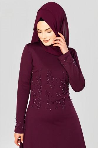 - Ön ve Kol İnci Detaylı Elbise-2063 Mürdüm (1)