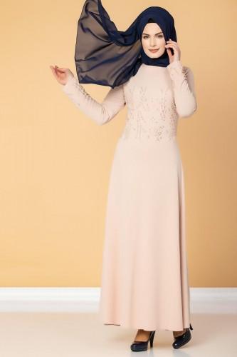 Ön ve Kol İnci Detaylı Elbise-2063 Pudra - Thumbnail
