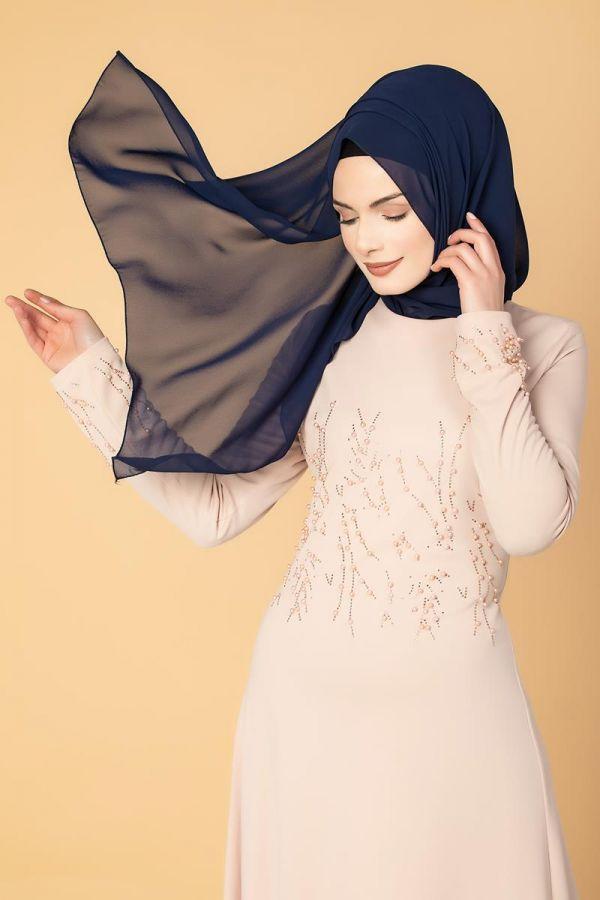 Ön ve Kol İnci Detaylı Elbise-2063 Pudra