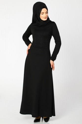 - Ön ve Kol İnci Detaylı Elbise-2063 Siyah