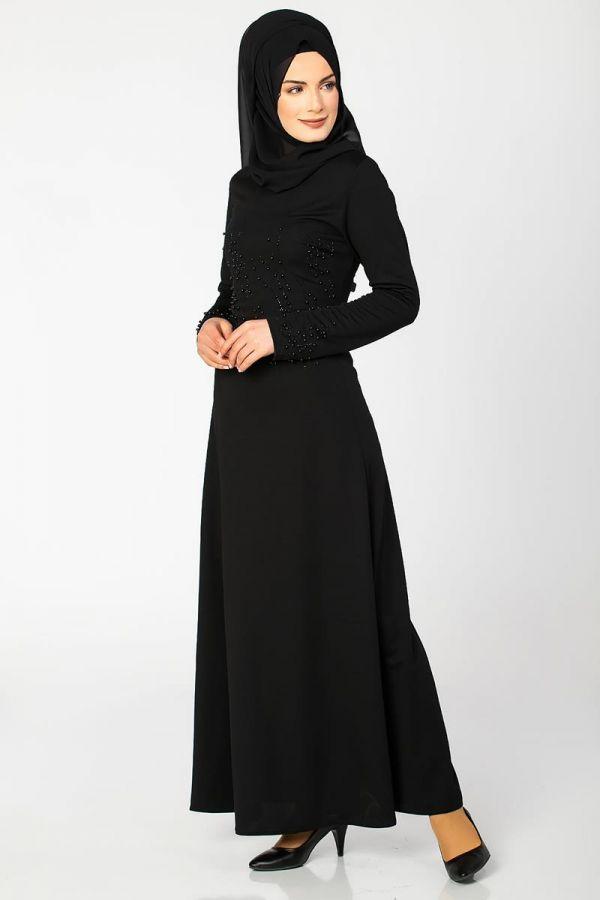 Ön ve Kol İnci Detaylı Elbise-2063 Siyah