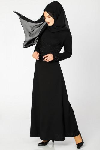 Ön ve Kol İnci Detaylı Elbise-2063 Siyah - Thumbnail
