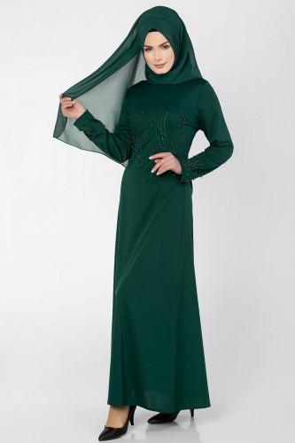 Ön ve Kol İnci Detaylı Elbise-2063 Zümrüt - Thumbnail
