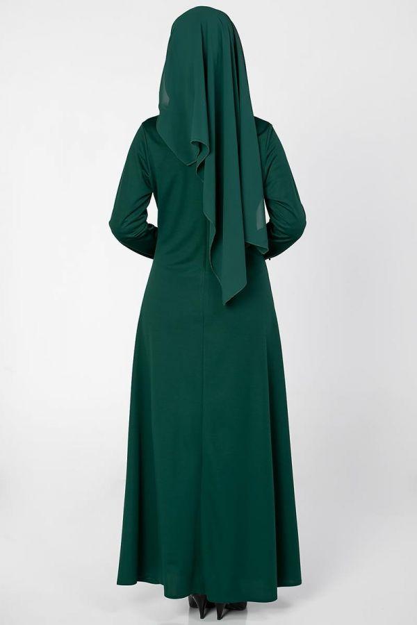 Ön ve Kol İnci Detaylı Elbise-2063 Zümrüt