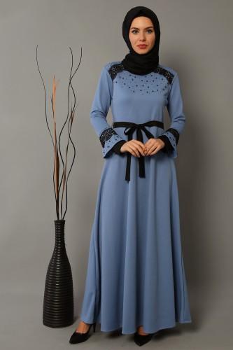 Modaebva - Ön ve Kol Taşlı Güpürlü Elbise-bebemavisi0633