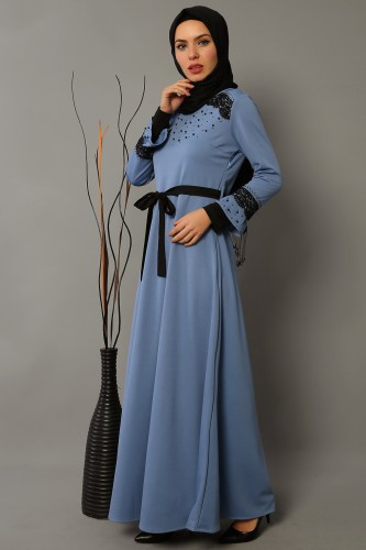 Modaebva - Ön ve Kol Taşlı Güpürlü Elbise-bebemavisi0633 (1)