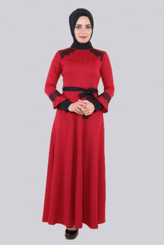 Modaebva - Ön ve Kol Taşlı Güpürlü Elbise-Bordo 0633 (1)