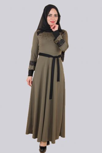 - Ön ve Kol Taşlı Güpürlü Elbise-Yeşil 0633