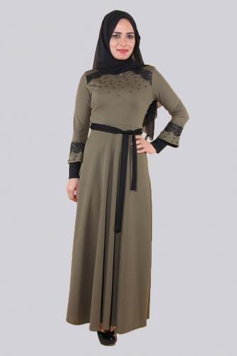 - Ön ve Kol Taşlı Güpürlü Elbise-Yeşil 0633 (1)