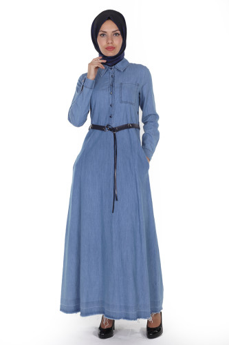 - Önden Düğme Kemerli kot Elbise-1227Açık Mavi