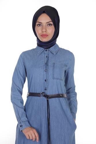 - Önden Düğme Kemerli kot Elbise-1227Açık Mavi (1)