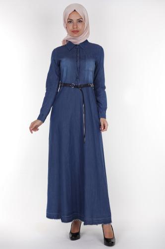 - Önden Düğme Kemerli Kot Elbise-1227Koyu Mavi