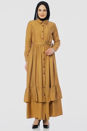 Modaebva - Önden Düğmeli Ayrobin Tesettür Elbise-4070 Hardalsarısı