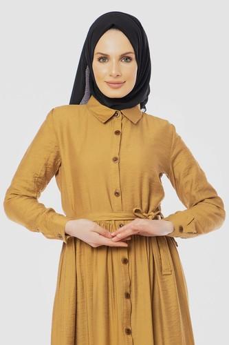 Modaebva - Önden Düğmeli Ayrobin Tesettür Elbise-4070 Hardalsarısı (1)