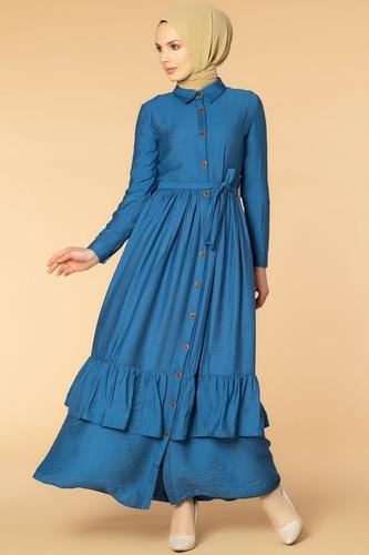 Modaebva - Önden Düğmeli Ayrobin Tesettür Elbise-4070 İndigo