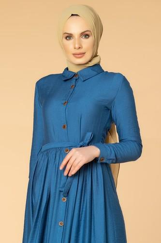 Modaebva - Önden Düğmeli Ayrobin Tesettür Elbise-4070 İndigo (1)