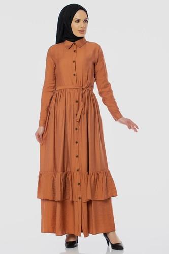 Modaebva - Önden Düğmeli Ayrobin Tesettür Elbise-4070 Kiremit