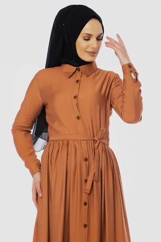 Modaebva - Önden Düğmeli Ayrobin Tesettür Elbise-4070 Kiremit (1)
