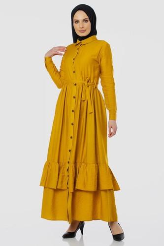 Modaebva - Önden Düğmeli Ayrobin Tesettür Elbise-4070 Sarı