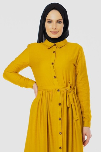 Modaebva - Önden Düğmeli Ayrobin Tesettür Elbise-4070 Sarı (1)
