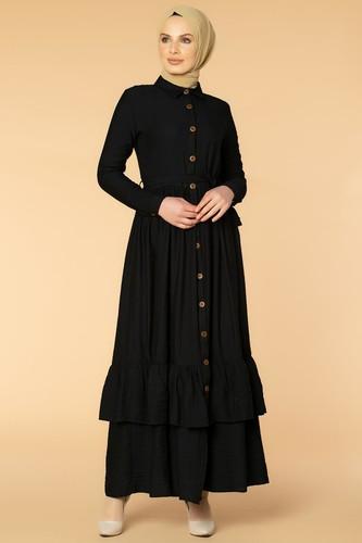 Modaebva - Önden Düğmeli Ayrobin Tesettür Elbise-4070 Siyah