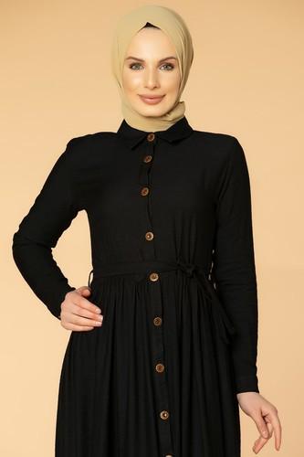 Modaebva - Önden Düğmeli Ayrobin Tesettür Elbise-4070 Siyah (1)