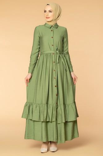 Modaebva - Önden Düğmeli Ayrobin Tesettür Elbise-4070 Yeşil