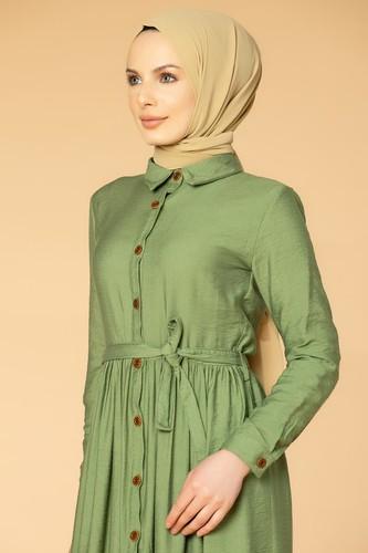 Modaebva - Önden Düğmeli Ayrobin Tesettür Elbise-4070 Yeşil (1)