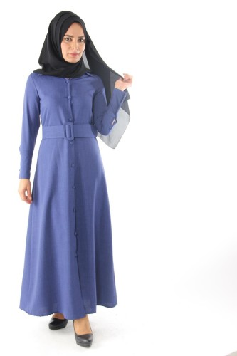 Modaebva - Önden Düğmeli Kalın Kemerli Elbise-Mavi0555 (1)