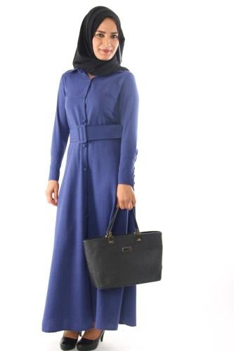 Modaebva - Önden Düğmeli Kalın Kemerli Elbise-Mavi0555