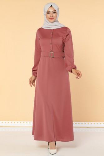 Modaebva - Önden Düğmeli Kemerli Elbise-3047 Gülkurusu