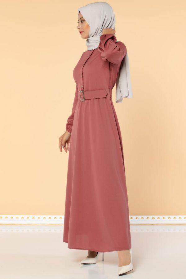 Önden Düğmeli Kemerli Elbise-3047 Gülkurusu