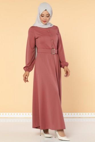 Önden Düğmeli Kemerli Elbise-3047 Gülkurusu - Thumbnail