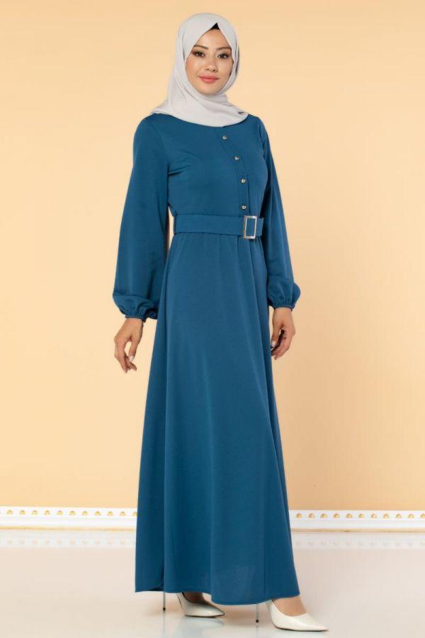 Önden Düğmeli Kemerli Elbise-3047 İndigo
