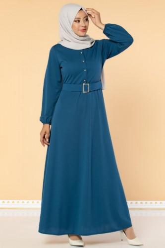 Modaebva - Önden Düğmeli Kemerli Elbise-3047 İndigo