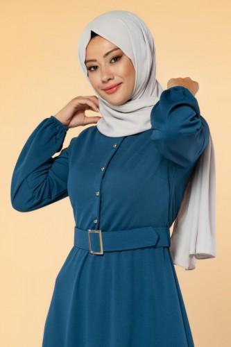 Modaebva - Önden Düğmeli Kemerli Elbise-3047 İndigo (1)