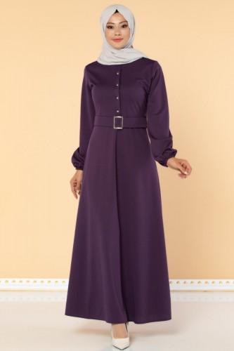 Modaebva - Önden Düğmeli Kemerli Elbise-3047 Mor