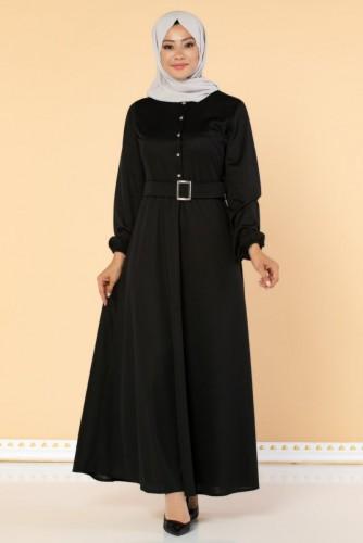 Modaebva - Önden Düğmeli Kemerli Elbise-3047 Siyah