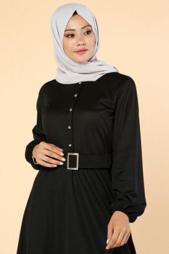Modaebva - Önden Düğmeli Kemerli Elbise-3047 Siyah (1)